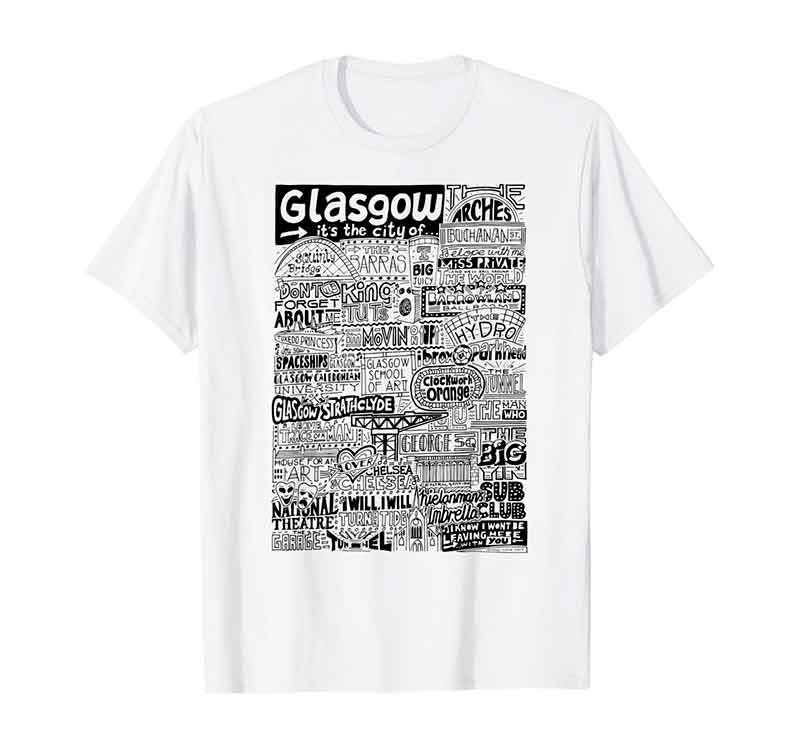 Glasgow Landmarks T-shirt featuring typography and illustrations of the places and landmarks of Glasgow