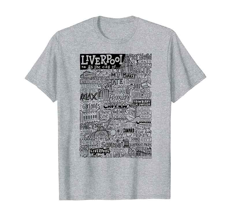Liverpool Landmarks T-shirt featuring typography and illustrations of the places and landmarks of Liverpool