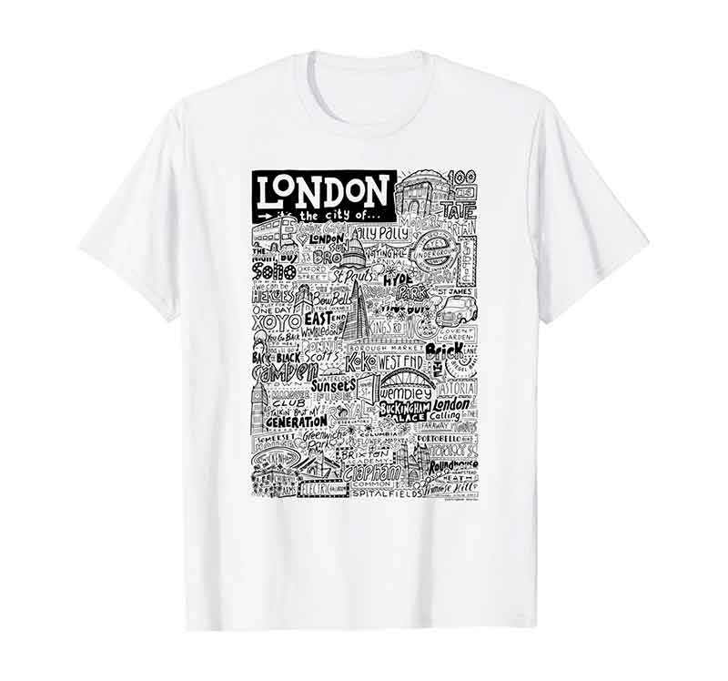 London Landmarks t-shirt featuring hand-drawn design featuring iconic places and people in London