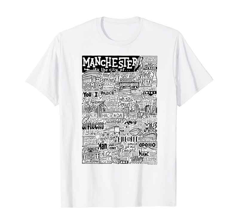 Manchester Landmarks T-shirt featuring typography and illustrations of the places and landmarks of Manchester