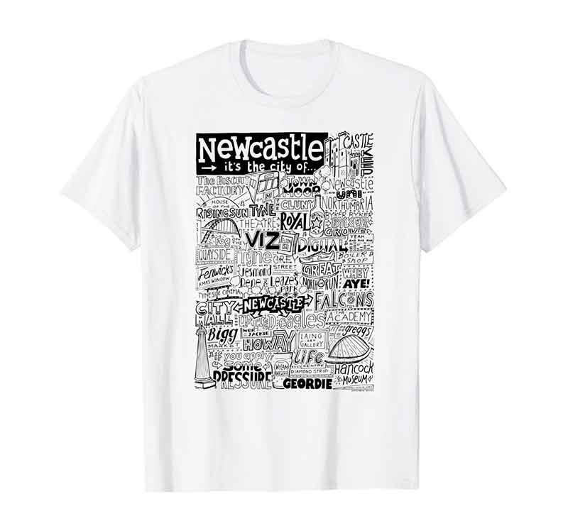 Newcastle Landmarks T-shirt by Sketchbook Design featuring typography and illustrations of the landmarks of Newcastle