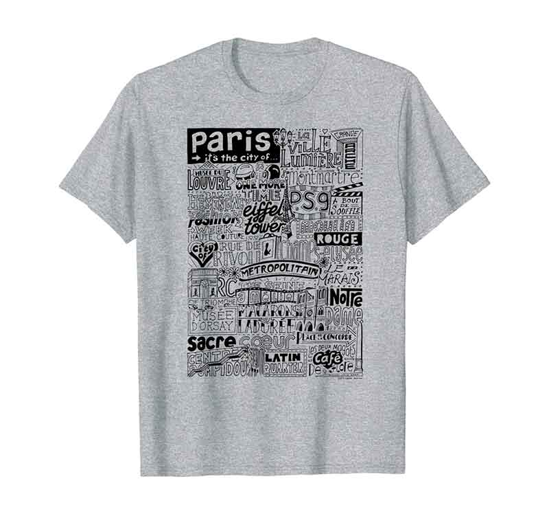 Paris Landmarks T-shirt by Sketchbook Design featuring typography and illustrations of the landmarks of Paris