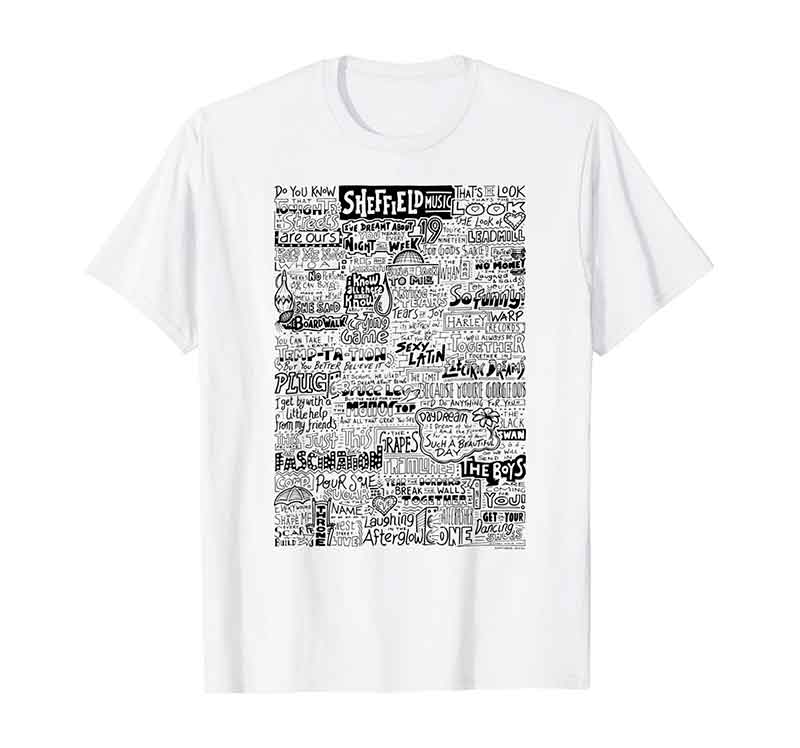 Sheffield Music and Bands T-shirt by Sketchbook Design. Mens Womens Childrens t-shirts featuring our hand drawn design inspired by the history of Sheffield music