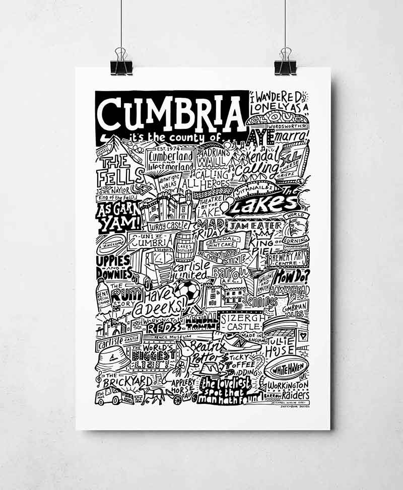 Cumbria Print by Sketchbook Design Hand drawn Cumbria Poster featuring iconic landmarks. Print available framed or unframed