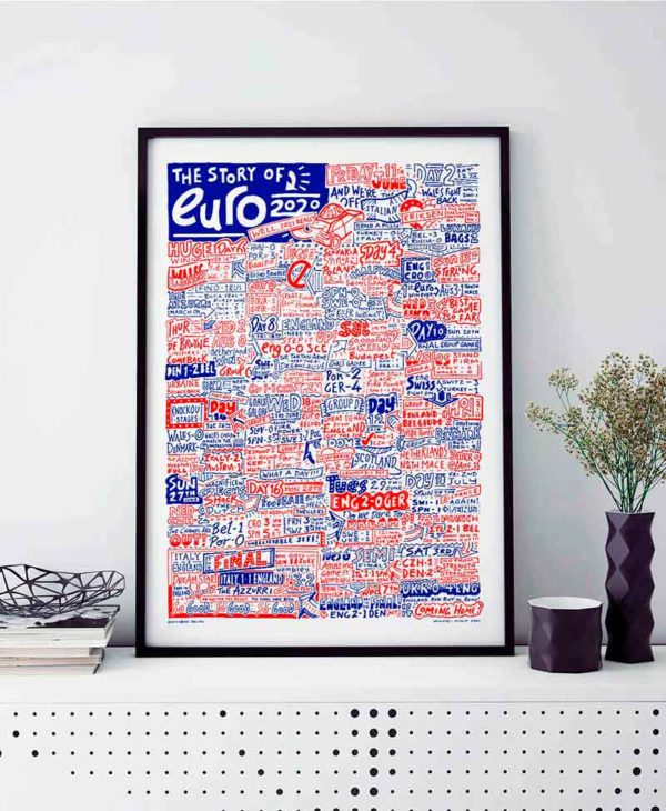Euro 2020 Print by Sketchbook Design. Hand-drawn illustration featuring the story of Euro 2020