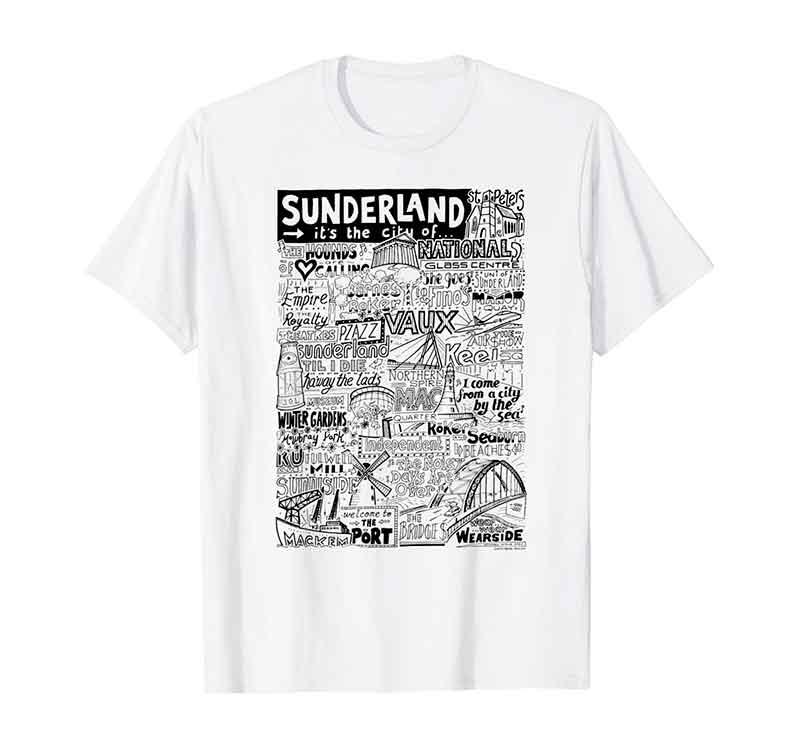 Sunderland Landmarks T-shirt by Sketchbook Design featuring typography and illustrations of the landmarks of Sunderland