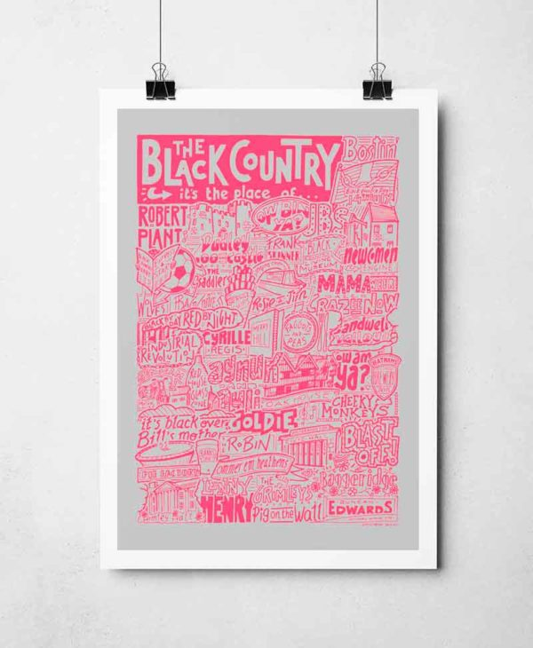 The Black Country Print by Sketchbook Design Hand drawn Black Country Poster featuring iconic landmarks. Print available framed or unframed