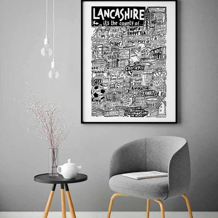 Lancashire Print | Hand-drawn Lancashire landmarks Poster by Sketchbook Design. Print featuring people, places and things from Lancashire